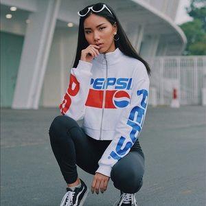 Tops - Crop pepsi zip up long sleeve racer top